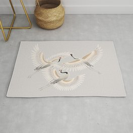 traditional Japanese cranes bright illustration Rug