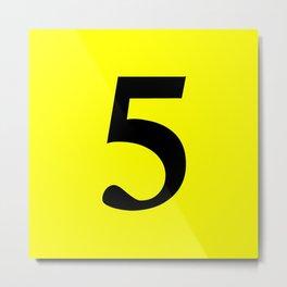 5 (BLACK & YELLOW NUMBERS) Metal Print