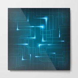 Blue Neon Circuit Board Design Metal Print
