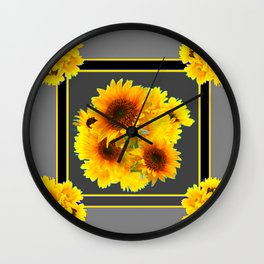 YELLOW SUNFLOWER BOUQUETS GREY ART Wall Clock