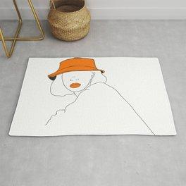 Female with Orange Hat Line Art Portrait Rug