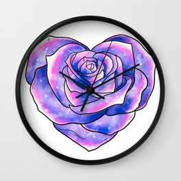 Heart shaped multi color Rose Wall Clock