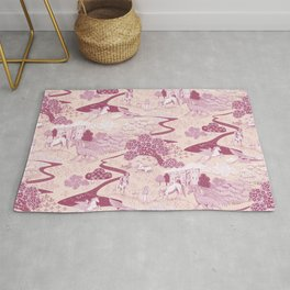 Mythical Creatures Toile in Peachy Pink Raspberry colors Rug