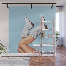 These Boots - Glitter Blue Wall Mural