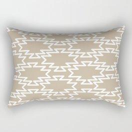 Southwest Azteca Minimalist Geometric Pattern in White and Neutral Flax Rectangular Pillow