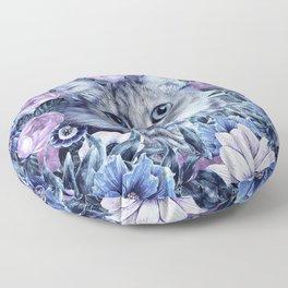 Cat In Flowers. Winter Floor Pillow