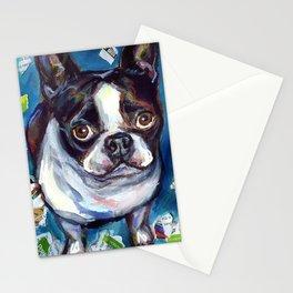 Boston Terrier mischief~paper shredder dog Stationery Cards
