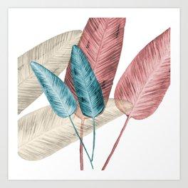 Watercolor banana leaves Art Print