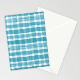 Watercolor Brushstroke Plaid Pattern Pantone Barrier Reef 17-4530 Stationery Cards