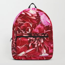 Red Flowers With Single Pink Carnation Backpack