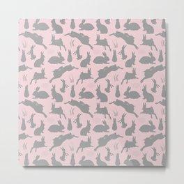 Rabbit Pattern | Rabbit Silhouettes | Bunny Rabbits | Bunnies | Hares | Pink and Grey | Metal Print