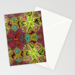 Kaleidoscope Glass Art (Maroon, Yellow, Salmon, Teal, Red) Stationery Cards