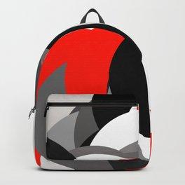 black white grey red geometric digital art Backpack
