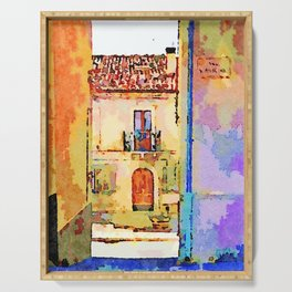 Borrello: alley and building Serving Tray