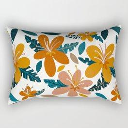 Tropical Holiday Florals – Ochre & Teal Rectangular Pillow