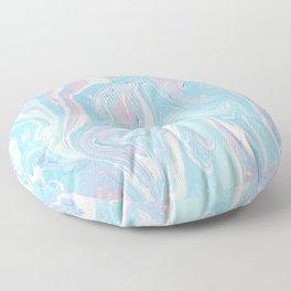 Blue aqua teal prim pink watercolor abstract marble Floor Pillow