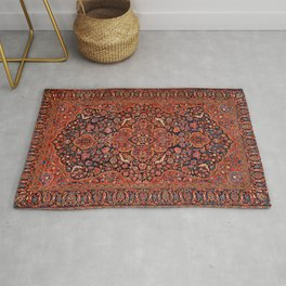 Central Persia 19th Century Authentic Colorful Red Blue Tan Vintage Patterns Rug