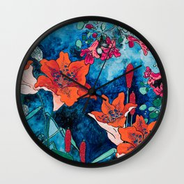 Blooming Night Garden: Twilight Wall Clock