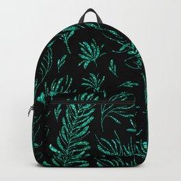 Elegant black emerald green glitter leaves Backpack