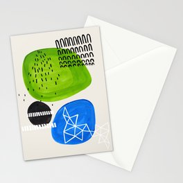 Mid Century Modern abstract Minimalist Fun Colorful Shapes Patterns Lime Green Phthalo Blue Bubbles Stationery Cards