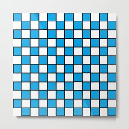 Checkered Outlined Turquoise and Black Metal Print