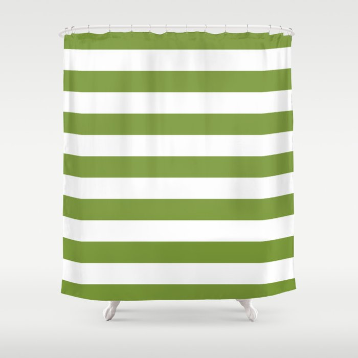 Green And White Stripes Shower Curtain, Green And White Shower Curtain
