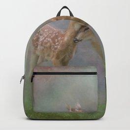 Vintage Painting Of The Innocence Of Two Deer Snuggling Backpack