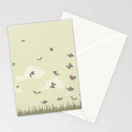 flying butterflies on a green landscape with sun Stationery Cards