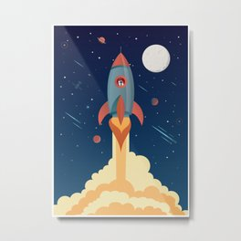 SPACE ROCKET illustration Metal Print