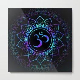 Om Mandala: Violet Teal Blue Galaxy Metal Print