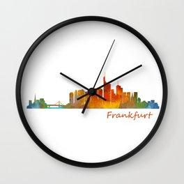 Frankfurt am Main, City Skyline, Citiscae art watercolor V1 Wall Clock