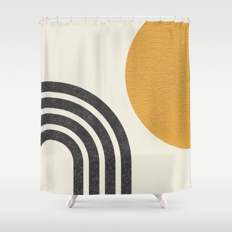 mid century modern sun rainbow shower curtain by moonlightprint