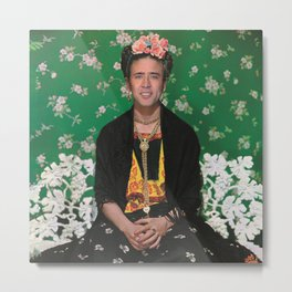 Frida Kahlo on White Bench (Nicholas Cage face swap) Metal Print