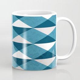 DIAMOND MOSAIC TRIANGLE BLUE GREY WHITE Coffee Mug
