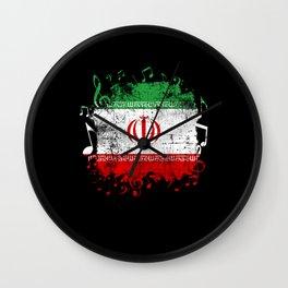 Iran Flag Music Wall Clock