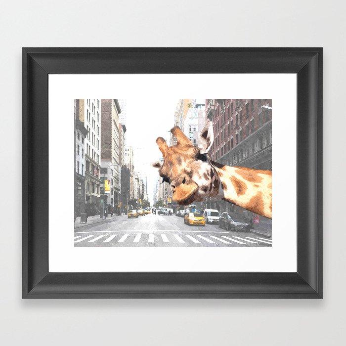 Selfie Giraffe in New York Gerahmter Kunstdruck