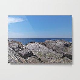 Blue Sea Beyond the Rocks Metal Print