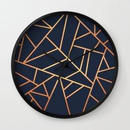 navy and gold abstract Wall Clock