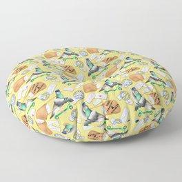 Pigeons Express (Yellow Background) Floor Pillow