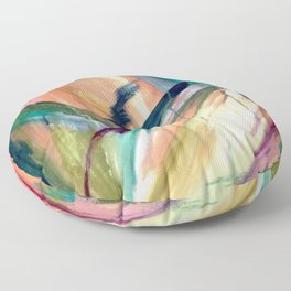 Brave -  a colorful acrylic and oil painting Floor Pillow