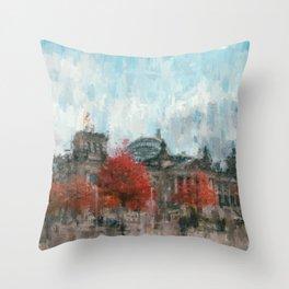Bundestag, Reichstag Berlin Mitte -  impressionism style print Illustration  / abstract landmark Throw Pillow