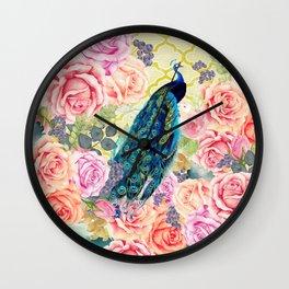 Pink bohemian roses floral vintage peacock quatrefoil Wall Clock
