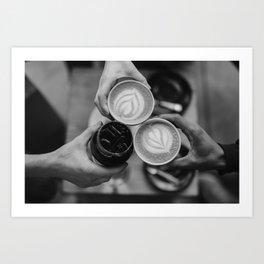 Coffee Friendship (Black and White) Art Print