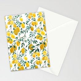 watercoor yellow lemon pattern Stationery Cards