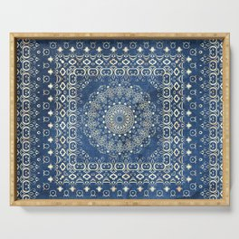 Old Bookshop Magic Mandala in Blue Serving Tray