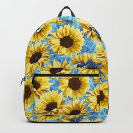Dreamy Sunflowers on Blue Backpack