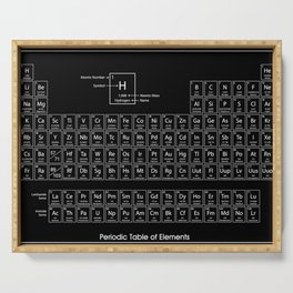 periodic table of elements black Serving Tray