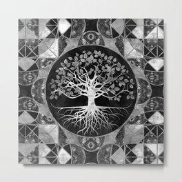 Tree of life - Gray scale Gemstone Metal Print