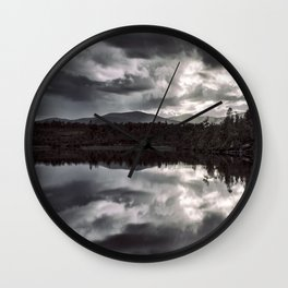 Clouds over the lake Wall Clock