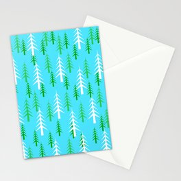 Christmas Trees White Green Light Blue Background  Stationery Cards